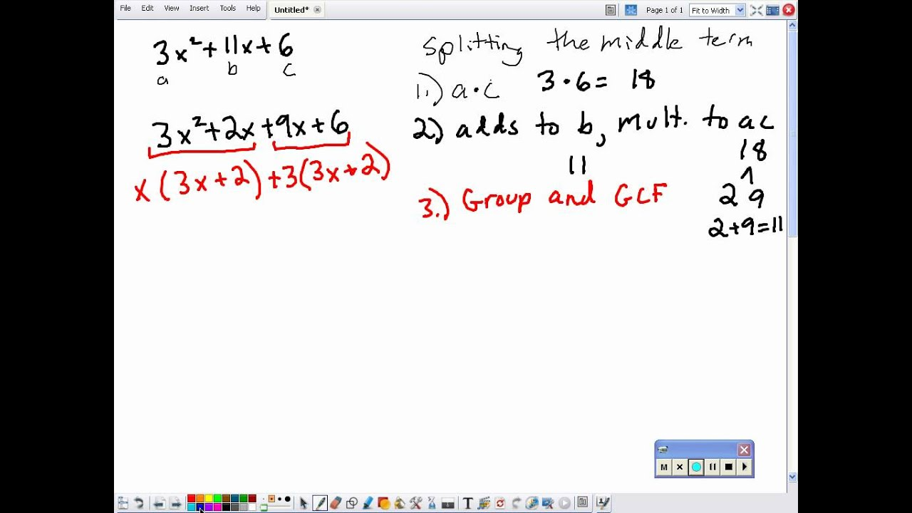 Factoring A Trinomial With A Leading Coefficient Not Equal To One