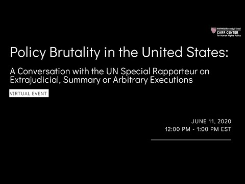 Police Brutality in the United States:A Conversation with Agnes Callamard, the UN Special Rapporteur on YouTube