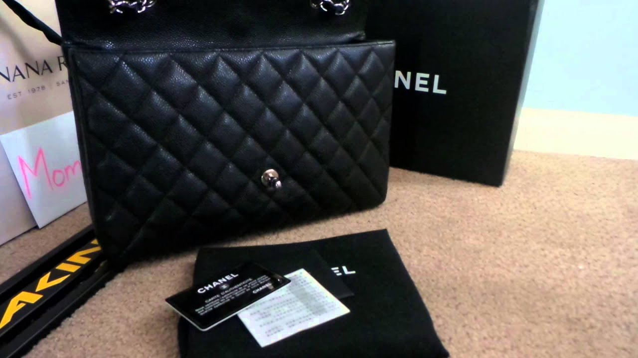 8b84ca1ef4e4 Chanel Black Caviar Jumbo Single Flap Silver - YouTube