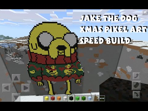 Jake the Dog Adventure Time Pixel Art Speed Build - Christmas Special - Minecraft