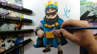 Dibujo del Rey Azul Clash Royale - Drawing to Blue King of Clash Royale  By Steven Builes