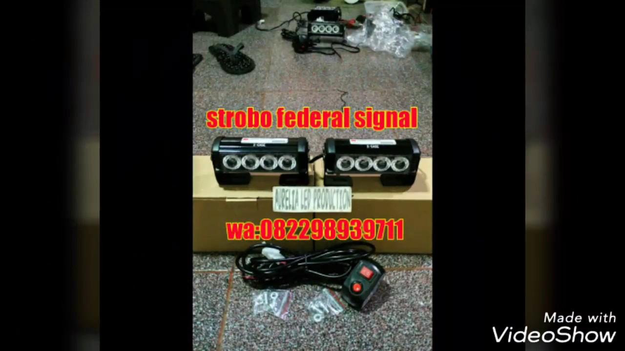 Federal Signal Lampu Strobo 9 Mode 2x4 Led Nyala Terang Biru Roof Top Atap 6 X Ori