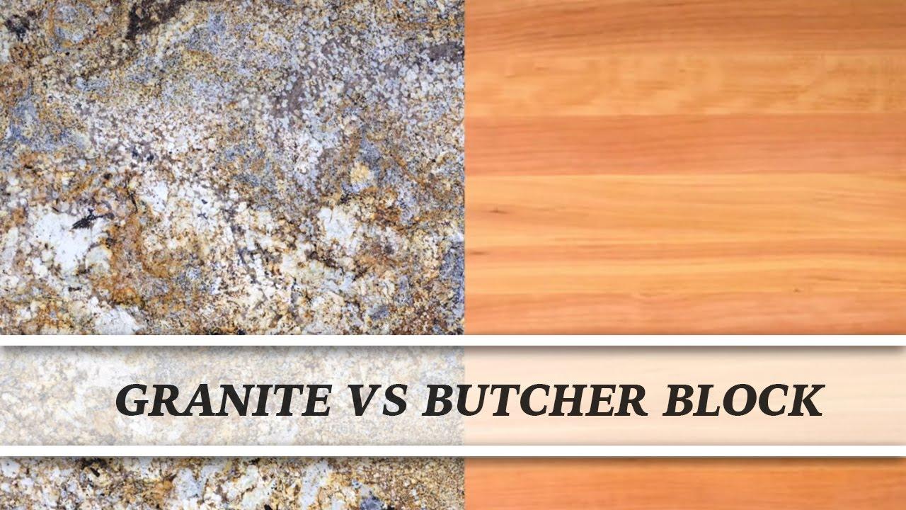 Granite vs butcher block countertop comparison youtube - Marble chopping block ...