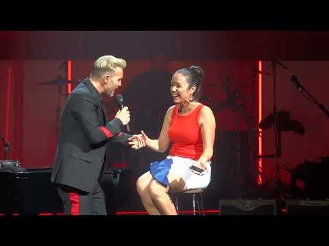 Gary Barlow, Million Love Songs, with happy girl, at Llandudno 21 May 2018