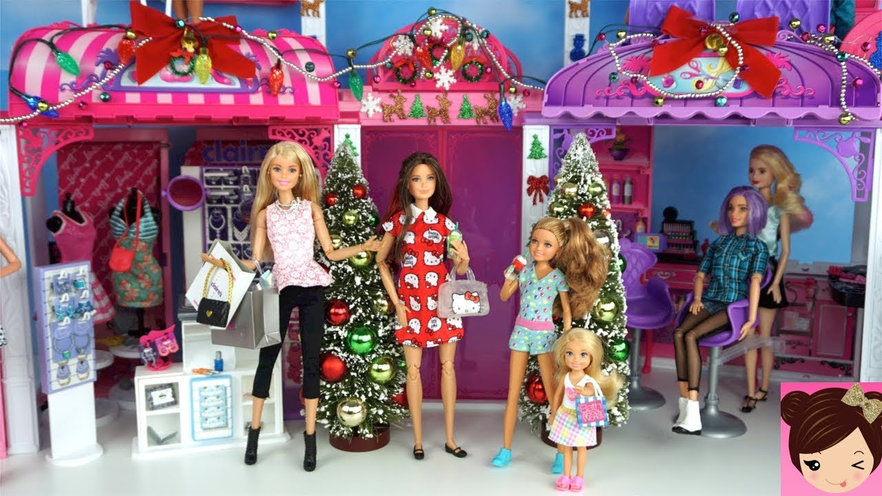 Barbie And Her Sisters Go Christmas Holiday Shopping At The Mall