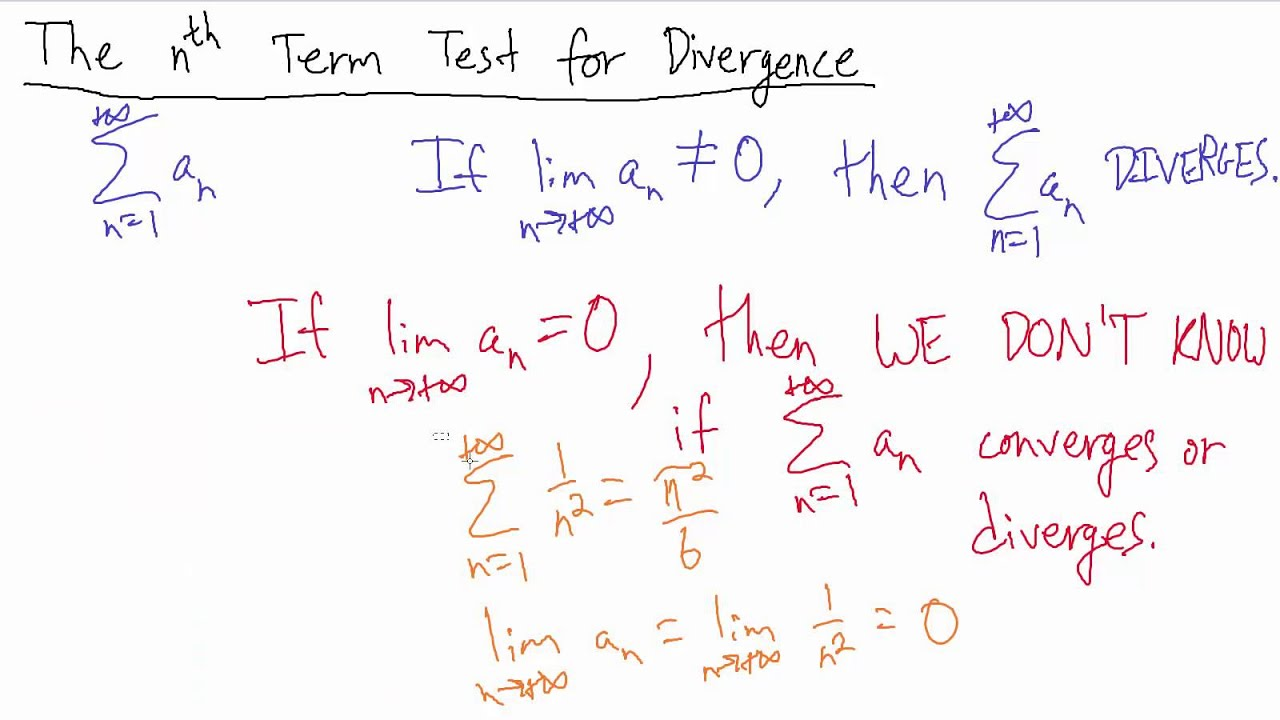 Calculus - The nth Term Test for Divergence