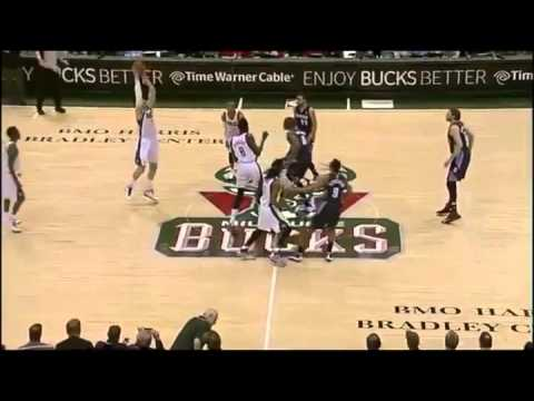 Referee Bill Kennedy Takes A Nasty Elbow From Larry Sanders