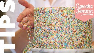 ALL THE SPRINKLES! Cover your Cake in Sprinkles like a pro with this Top Tip!  Cupcake Jemma Tips