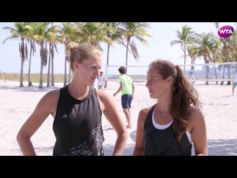 Kristina Mladenovic & Daria Kasatkina Play Beach Footvolley In Miami