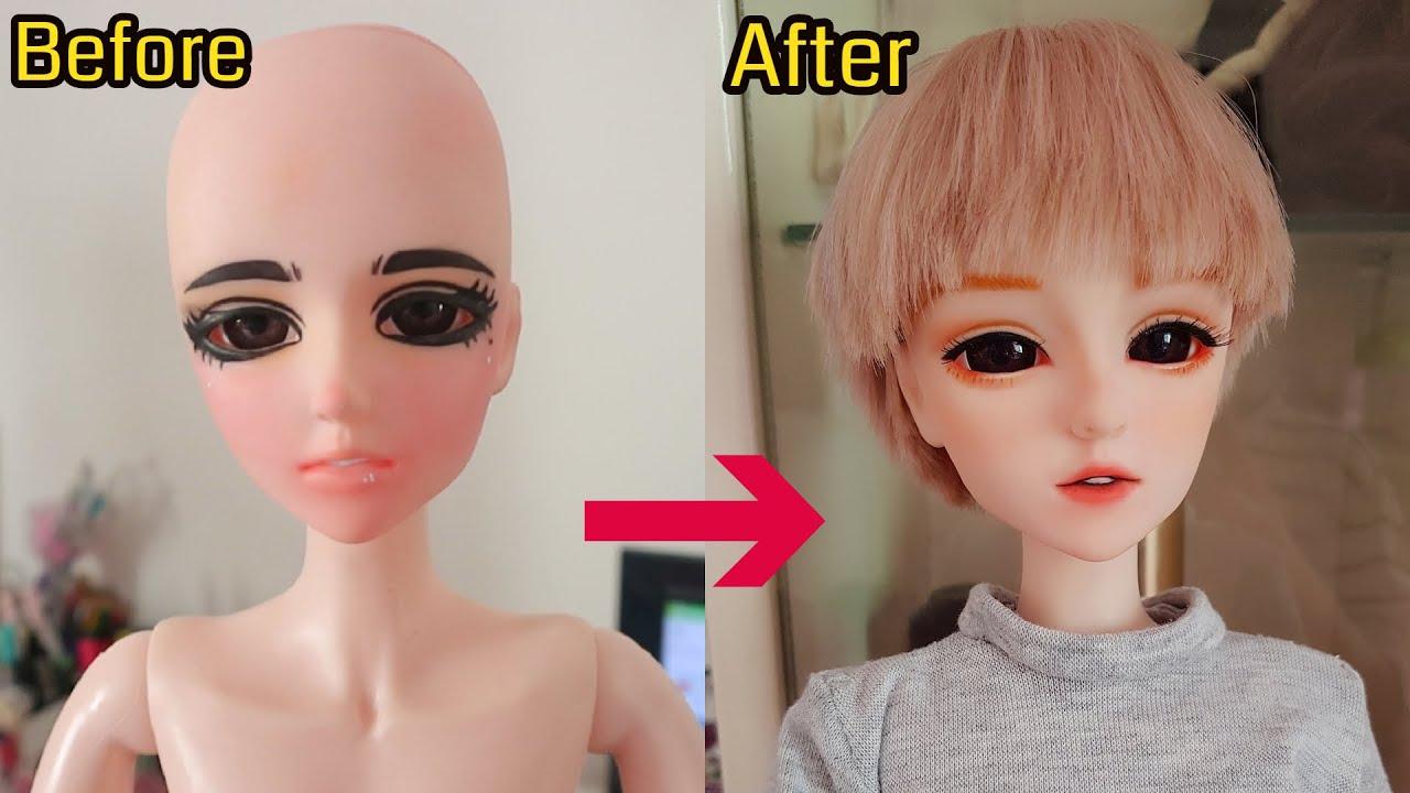 [Doll repaint] Vẽ mặt – may quần áo bb nam 60cm / Trả lời câu hỏi của các bạn/ Biến hóa búp bê #52