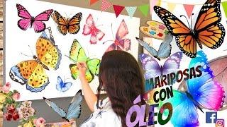 APRENDE A PINTAR MARIPOSAS CON ÓLEO ! DIY CUADRO DE MARIPOSAS+BUTTERFLY DRAWING