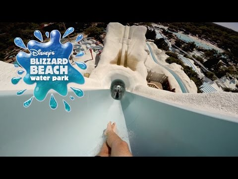 Riding Summit Plummet: Tallest Waterslide in the U.S. (120 Feet) Disney's Blizzard Beach Part 2