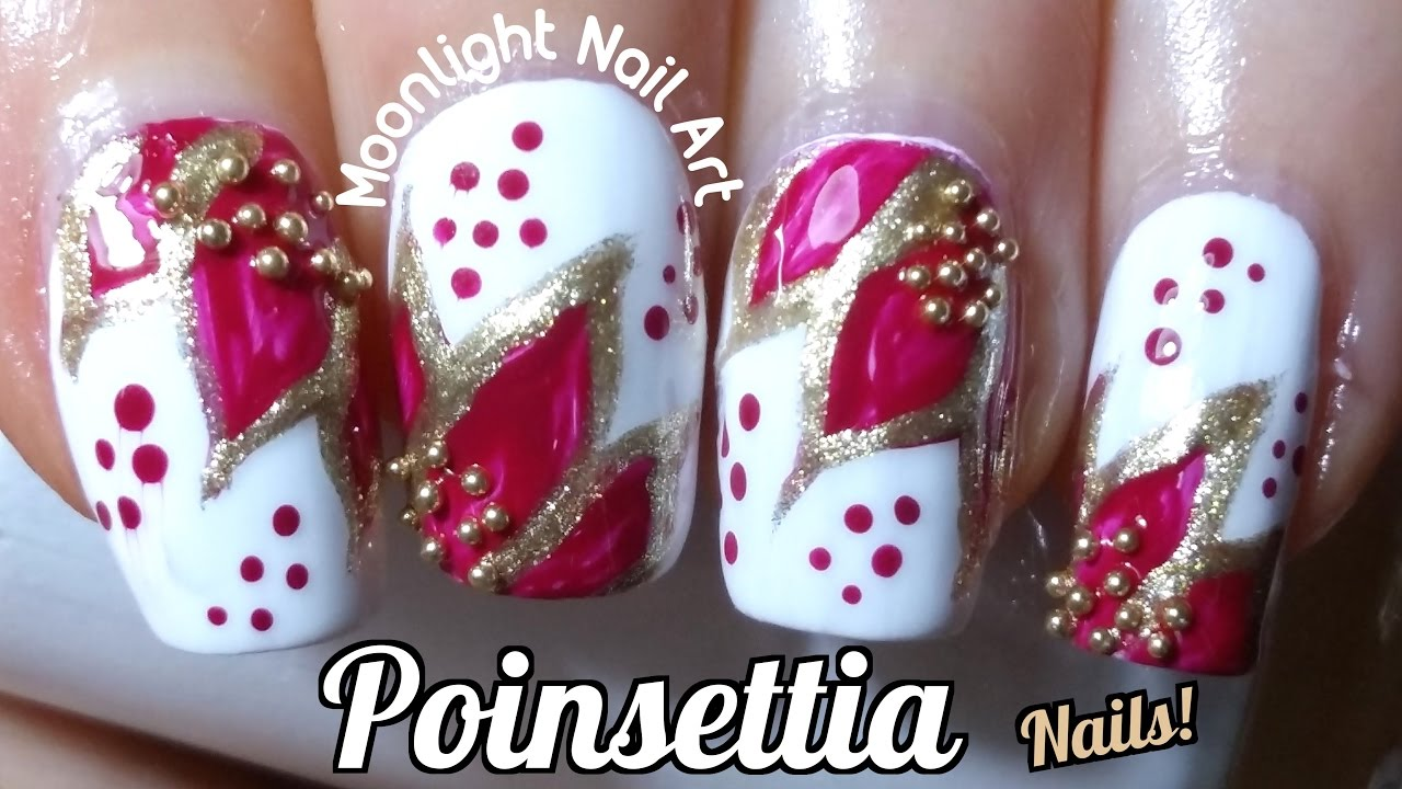 christmas poinsettia nail art design