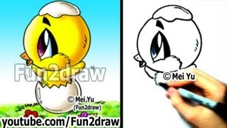 How to Draw a Chibi Baby Chick - Easy Things to Draw - Fun2draw