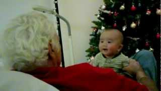 IAN 3 months old baby Laughing at snoring grandpa