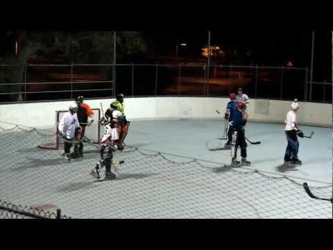 Ref Fights Player Roller Hockey.