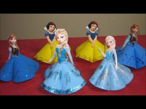 Como Fazer Lembrancinha Tubete da Elsa Frozen, Anna Frozen e Branca de Neve Passo a Passo