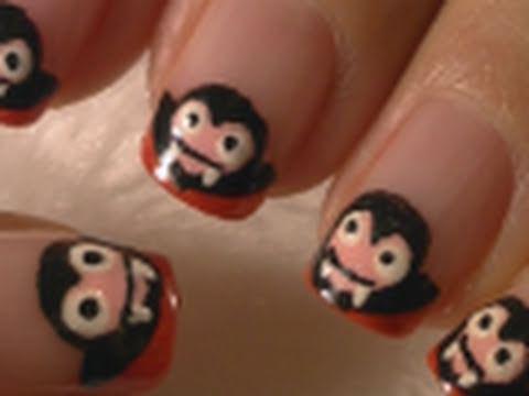 Halloween Nails - Cute Dracula/Vampire Halloween Nail Art ...