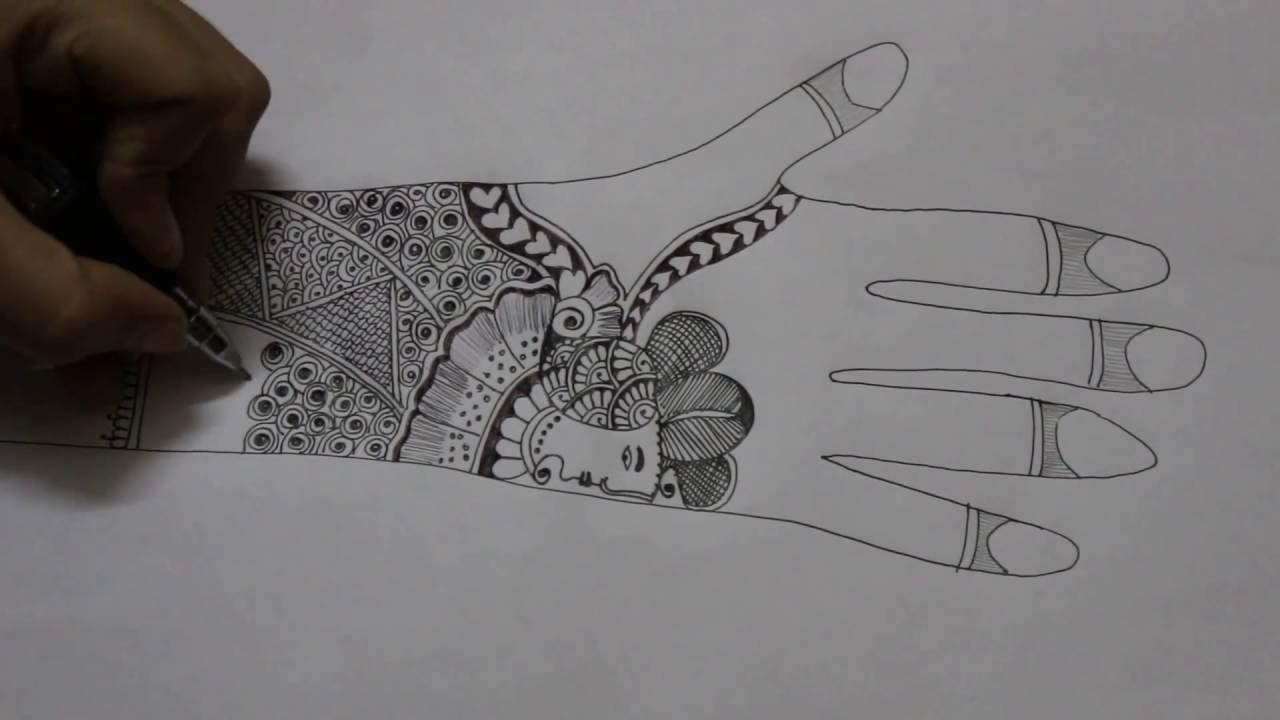 Bridal mehndi design pencil sketch