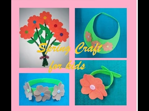 Spring Crafts For Kids Bunch Of Flowers Visor Flower Crown And
