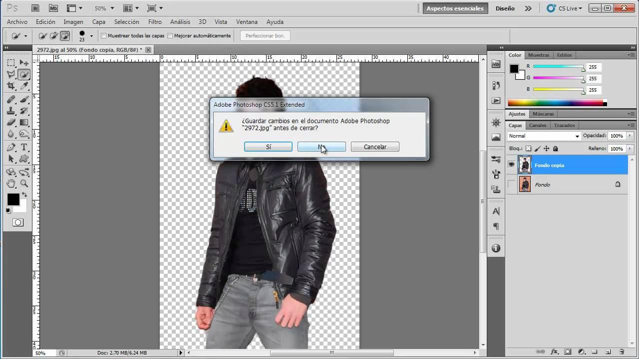 Poner fondo transparente en una imagen photoshop