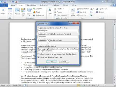 Add a Signature Line to a Document - Word 2010 - YouTube