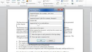 Add a Signature Line to a Document - Word 2010