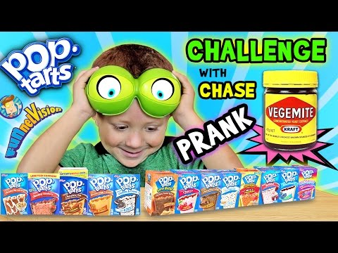 POP TART CHALLENGE & VEGEMITE PRANK on 4 Year Old CHASE (FUNnel Vision w/ Parents Battle)