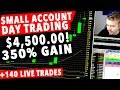 Small Account Day Trading LIVE! 350% Gain $4500+ ACCOUNT!