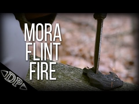 Flint And Steel Fire - With A Mora Bushcraft Black Knife