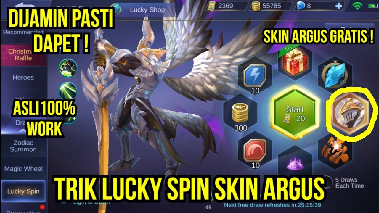 TRIK LUCKY SPIN SKIN ARGUS MOBILE LEGENDS !