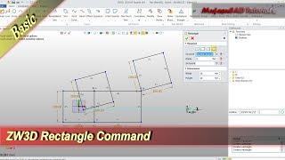 ZW3D Rectangle Command Basic Tutorial For Beginner