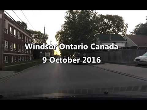 Windsor Ontario Canada 9 October 2016 dash cam double speed is 120km h at dawn using Yi action camer