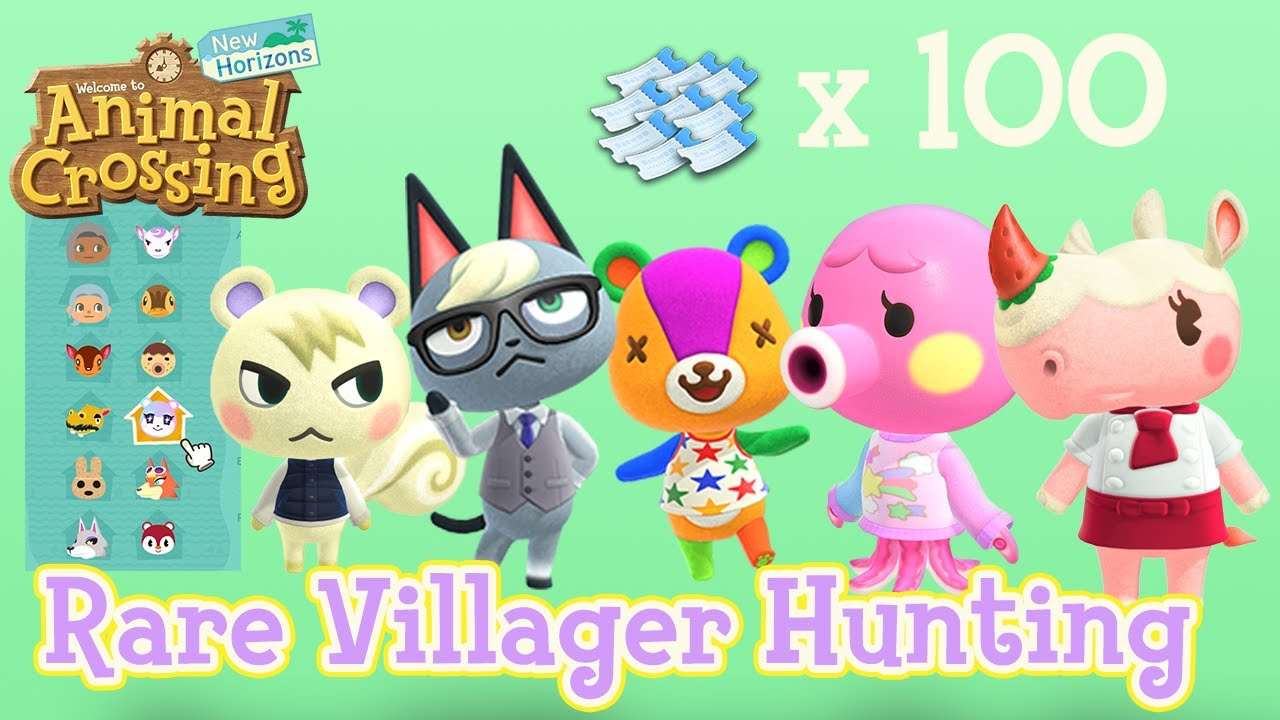 Hunting For Rare Villagers With One Hundred Nook Mile Tickets Animal Crossing New Horizons Youtube