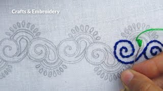 Hand Embroidery, Beautiful Border Line Design, Easy Border Line Embroidery