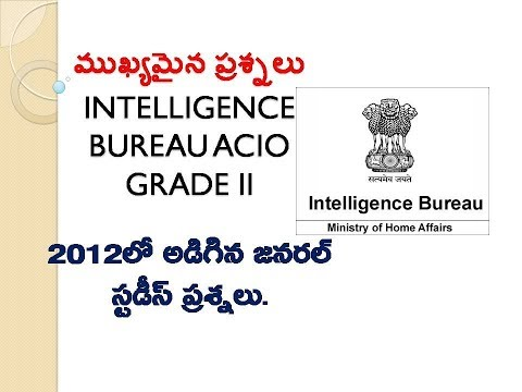 General Awareness Previous Year Solved Questions For IB ACIO || Intelligence Bureau ACIO GK (TELUGU)