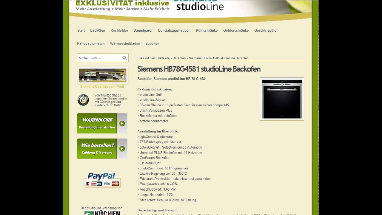 siemens hb78g4581 studioline backofen im internet bei youtube. Black Bedroom Furniture Sets. Home Design Ideas