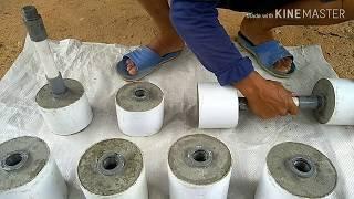 Kreatifitas anak bangunan, membuat Dumble dari bahan semen dan pipa paralon