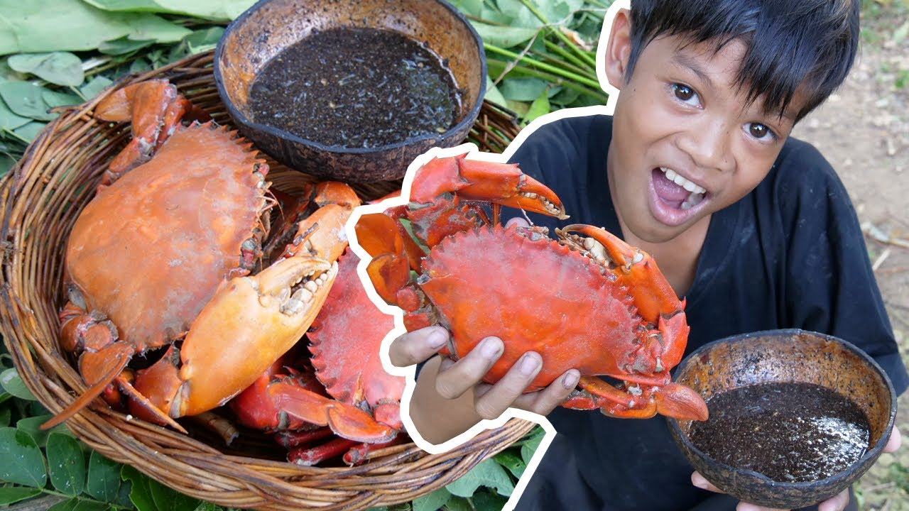 Primitive Technology - Awesome cooking crab and eating delicious Part 026
