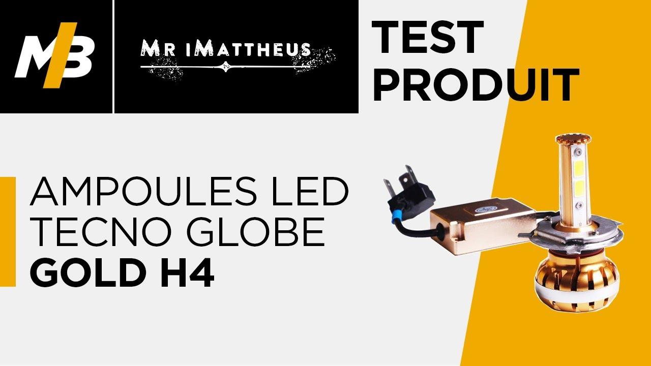 Test des ampoules led tecno globe gold h4 youtube - Ampoule led voiture h7 ...