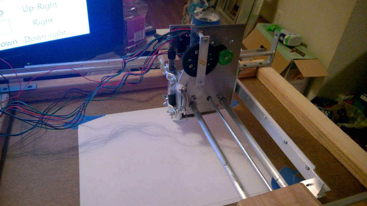 Home made XY Plotter, first test run