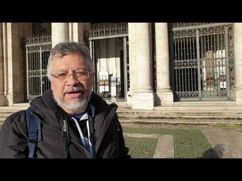 Prof. Marcelo Siqueira falando sobre São Jerônimo em Roma.