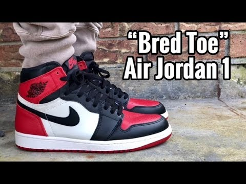 """759b9473099 Air Jordan 1 """"Bred Toe"""" on feet"""