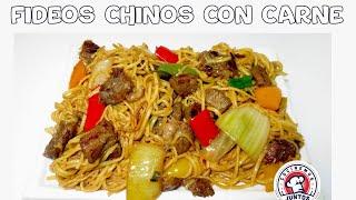 Tallarines chinos o Chow mein con carne - Comida China