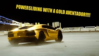 Gold Aventador doing multiple drifts and flybys