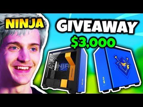 NINJA GIVES AWAY $3,000 CUSTOM GAMING PC | Fortnite Daily Funny Moments Ep.75
