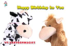 Happy Birthday To You Song  || Cattle cow Hippopotamus puppets Song
