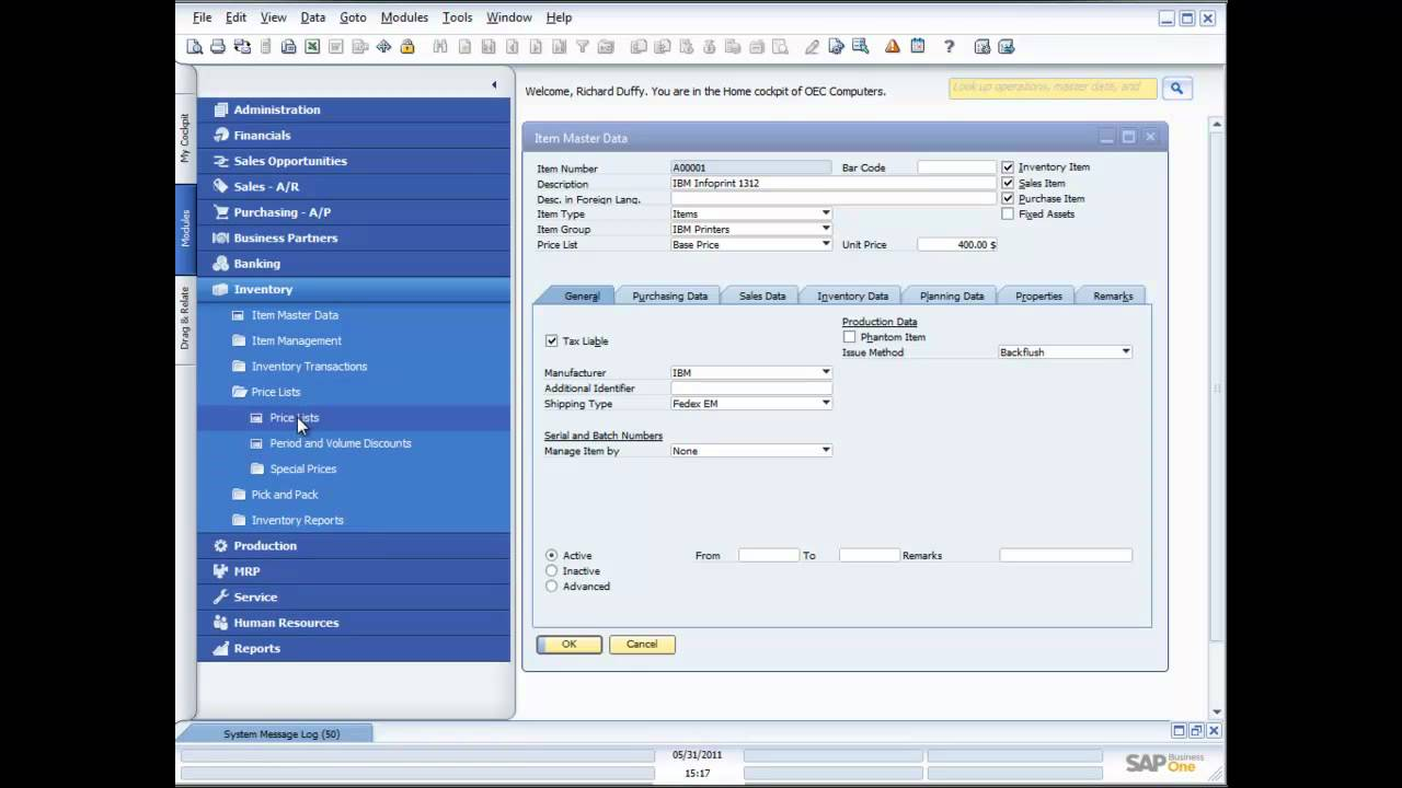 Sap Business One 8 8 Inventory Functionality Demonstration