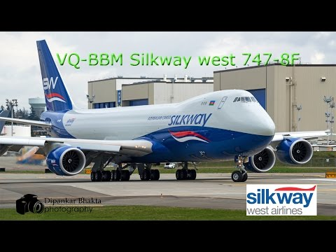 Silkway West Airlines latest 747-8F (VQ-BBM) delivery flight  PAE to Heydar Aliyev Intl