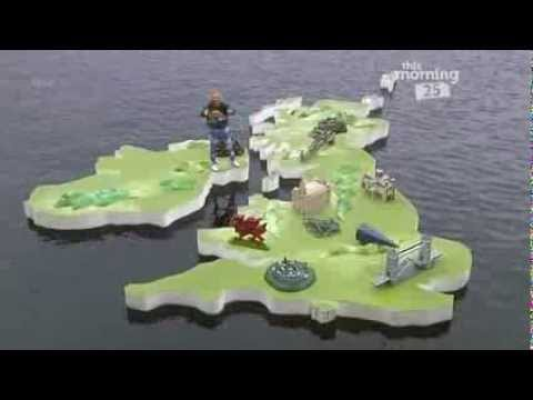 man falls in water during Keith Lemon's weather map - 25 years of This Morning - 3rd October 2013